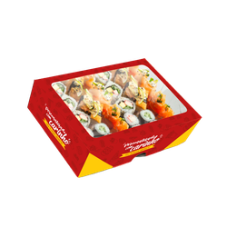 CAIXA BOX COM VISOR PARA SUSHI GRANDE PERSONALIZADA - MIX0045GPERS - CaixaMix Embalagens
