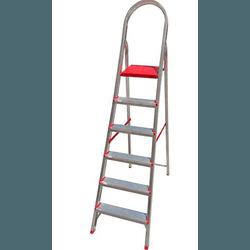 Escada doméstica de alumínio 6 degraus - Ágata - CONSTRUTINTAS