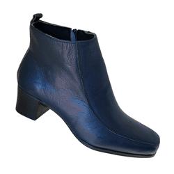 Bota Feminina em Couro Azul Marinho c/ Salto 5cm e zíper