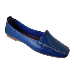 Mocassim Feminino em Couro Azul textura Croco