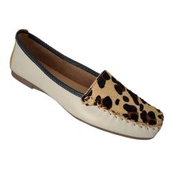 Sapato Mocassim feminino em Couro Colors / Onça