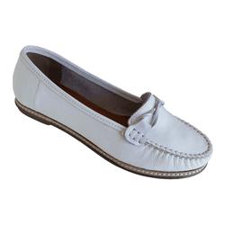 Sapato Feminino Mocassim Feminino em Couro Branco