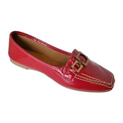 Sapato Mocassim Feminino Sintético Vermelho / Verniz