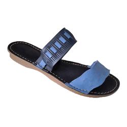 Rasteira em Couro Jeans / Marinho