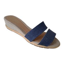 Sandália Feminina Anabela em Tecido Jeans