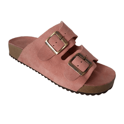 Birken Feminina em Couro / Camurça cor rosa sem costura