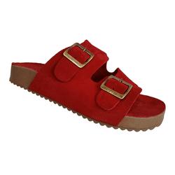 Birken Feminina em Couro / Camurça cor vermelha sem costura