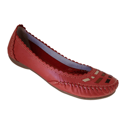 Sapatilha Feminina em Couro cor Vermelho / Colorida