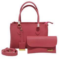 Bolsa Feminina Baú Alça Transversal Com Carteira Tamponada Pink - D&R SHOES
