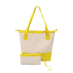 Bolsa Bag Grande Moda Praia De Ombro Com Necessaire Amarela - D&R SHOES