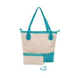 Bolsa Bag Grande Moda Praia De Ombro Com Necessaire Azul - D&R SHOES