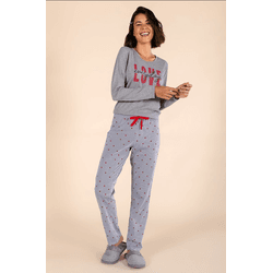 Pijama Longo Feminino LOVE - 0141083 - DIVINA STORE