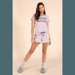 Pijama Curto Feminino Mescla Lilás - 0131409 - DIVINA STORE