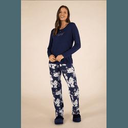 Pijama Feminino Azul Marinho Calça Floriada - 0141... - DIVINA STORE