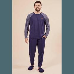 Pijama Masculino Azul marinho Mescla - 184625 - DIVINA STORE