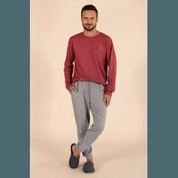 Pijama Masculino Bordô e CInza Mescla - 0141080 - DIVINA STORE