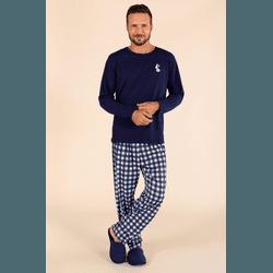 Pijama Longo Masculino Pets Xadrez - 0141098 - DIVINA STORE