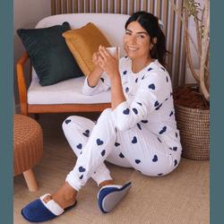 Pijama Manga Longa Corações - K12498 - DIVINA STORE