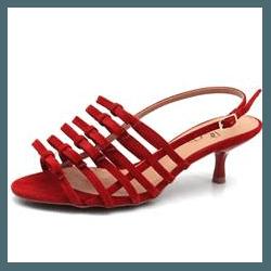 Sandália salto fino Donna Clô suede ruby - 23184 - DONNACLO