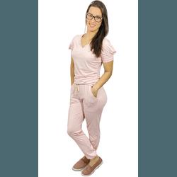 Pijama Cirúrgico Feminino Comfy - Lírio Rosa Bebê - Empório Materno
