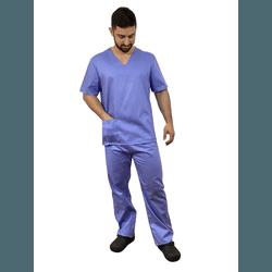 Pijama Cirúrgico Masculino Tricoline - Azul Italiano - Empório Materno