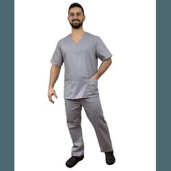 Pijama Cirúrgico Masculino Tricoline - Cinza - Empório Materno
