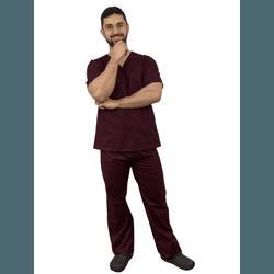 Pijama Cirúrgico Masculino Tricoline - Vinho - Empório Materno