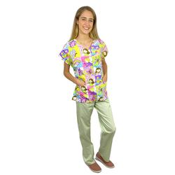Pijama Cirúrgico Feminino - Peça única promocional - Fadas 01 - Empório Materno