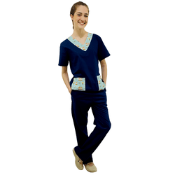 Pijama Cirúrgico Tradicional Tricoline - Liso com detalhes estampados - Empório Materno