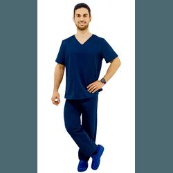 Pijama Cirúrgico Masculino Gabardine - Azul Marinho - Empório Materno
