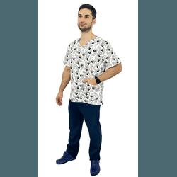 Pijama Cirúrgico Masculino - Medical Nursing Digital 5 - Empório Materno