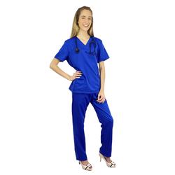 Pijama Cirúrgico Feminino Gabardine - Azul Royal - Empório Materno