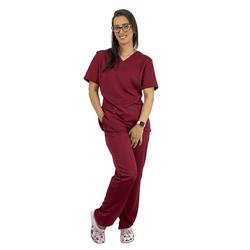 Pijama Cirúrgico Feminino Gabardine - Bordo - Empório Materno
