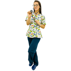 Pijama Cirúrgico Feminino - Dino Digital 2 - Empório Materno
