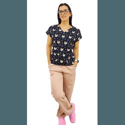Pijama Cirúrgico Feminino - Gatos Digital 7 - Empório Materno