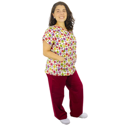 Pijama Cirúrgico Feminino - Matrioskas 01 - Empório Materno
