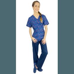 Pijama Cirúrgico Feminino - Medical Nursing Digital 4 - Empório Materno