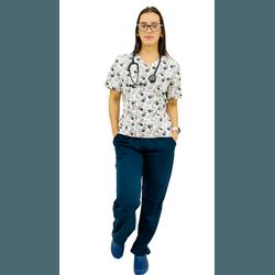 Pijama Cirúrgico Feminino - Medical Nursing Digital 5 - Empório Materno