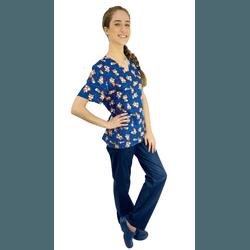 Pijama Cirúrgico Feminino - Raposas Digital 7 - Empório Materno