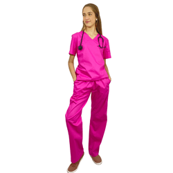 Pijama Cirúrgico tradicional Tricoline - Pink - Empório Materno