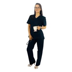 Pijama Cirúrgico Tradicional Tricoline - Preto - Empório Materno