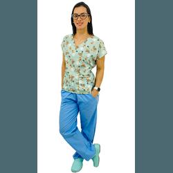 Pijama Cirúrgico Feminino - Raposas Digital 1 - Empório Materno