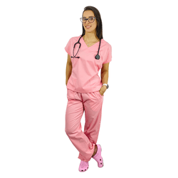 Pijama Cirúrgico Tradicional Tricoline - Rosa - Empório Materno