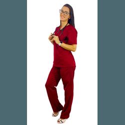 Pijama Cirúrgico Feminino Tricoline - Bordo - Empório Materno