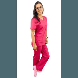 Pijama Cirúrgico Feminino Tricoline - Rosé - Empório Materno