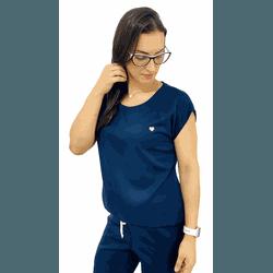 Scrub Cirúrgico Feminino Trendy - Gabardine Azul Marinho - Empório Materno