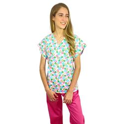 Pijama Cirúrgico Feminino - Peça única promocional - Estampa Flores 01 sem bolsos - Empório Materno