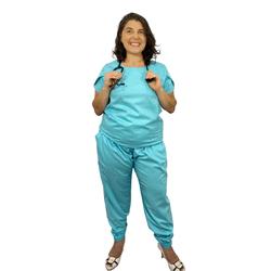Pijama Cirúrgico Feminino Trendy - Azul Claro - Empório Materno