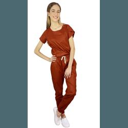 Pijama Cirúrgico Feminino Trendy - Terracota - Empório Materno