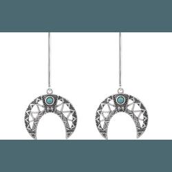 Brinco Pêndulo Lua com Pedrinha em Prata 925